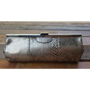 Banana Republic Exotic Snake Embossed Cow Hide Leather Clutch